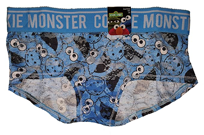 c936781c1e7f Sesame Street Cookie Monster Heads All Over Blue Lace Girlie Short Panties  - Small