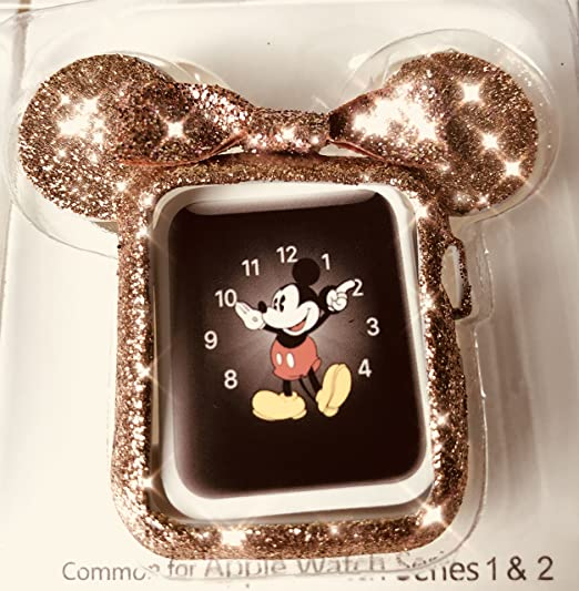 big sale 23fe8 2d0db SBN Rose Gold Glitter Mickey Apple Watch Case Size 42mm iWatch Case Series  4, 3, 2, 1 Cartoon Mouse Ears Apple Watch Case