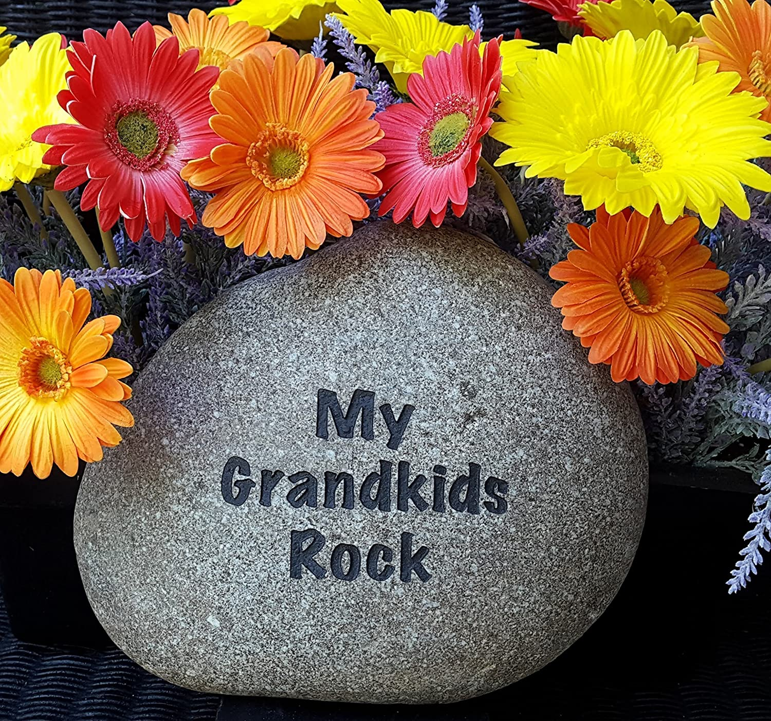 God Rocks My Grandkids Rock Engraved Garden Stone
