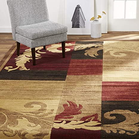 Amazon Com Home Dynamix Pierre Contemporary Geometric Scroll Area Rug 5 3 X7 2 Rectangle Brown Red Furniture Decor