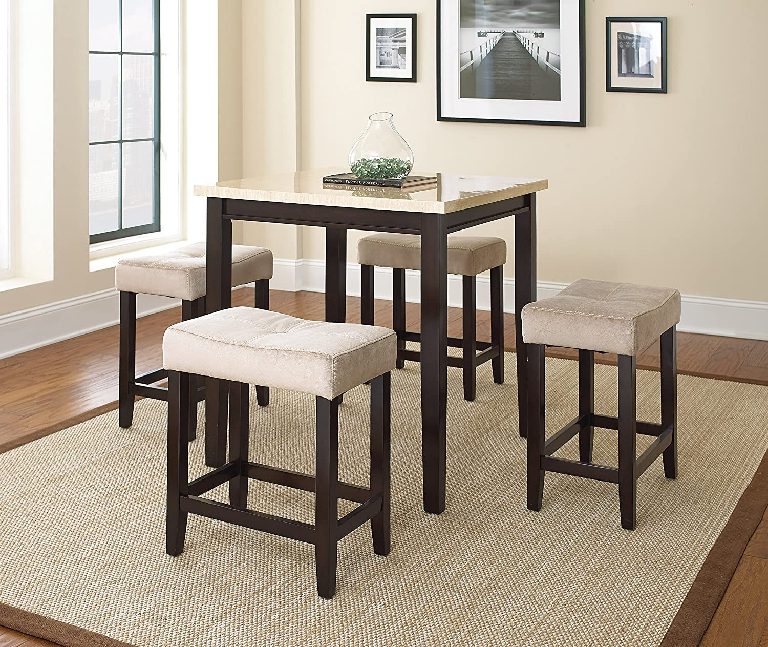 Amazon.com   Steve Silver Company Aberdeen Set, Light With Dark Brown    Table U0026 Chair Sets
