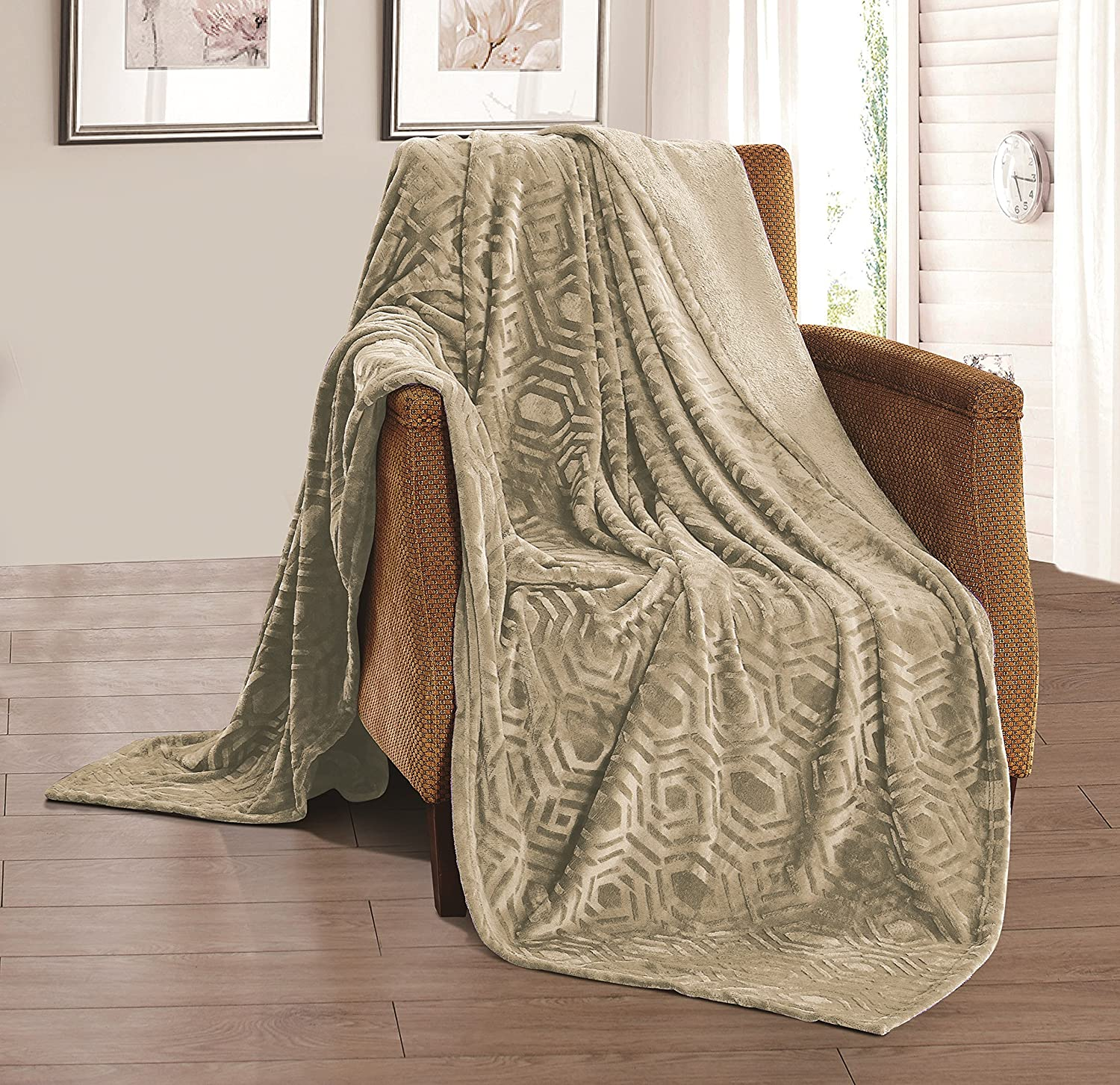 Solid Brushed Flannel Throw Blanket (King Size, Taupe