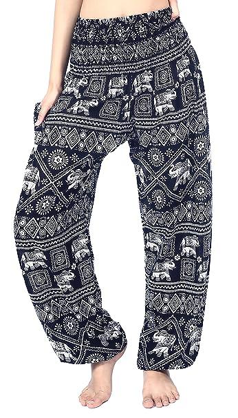 341c0313a2cf2 Boho Vib Women s Rayon Print Smocked Waist Boho Harem Yoga Pants  (Small Medium