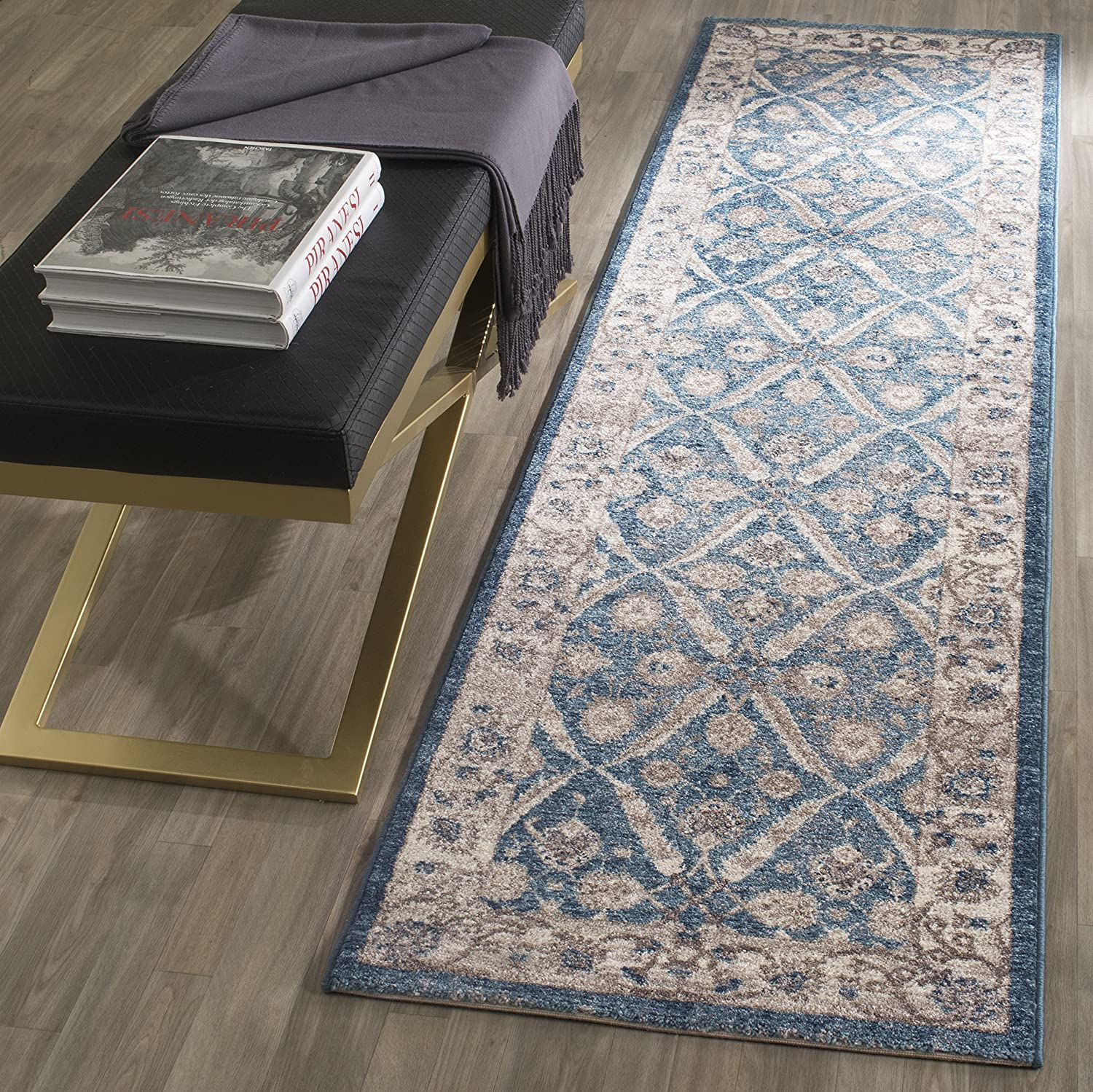 "Safavieh Sofia Collection SOF378C Vintage Oriental Runner, 2' 2"" x 10', Blue/Beige"