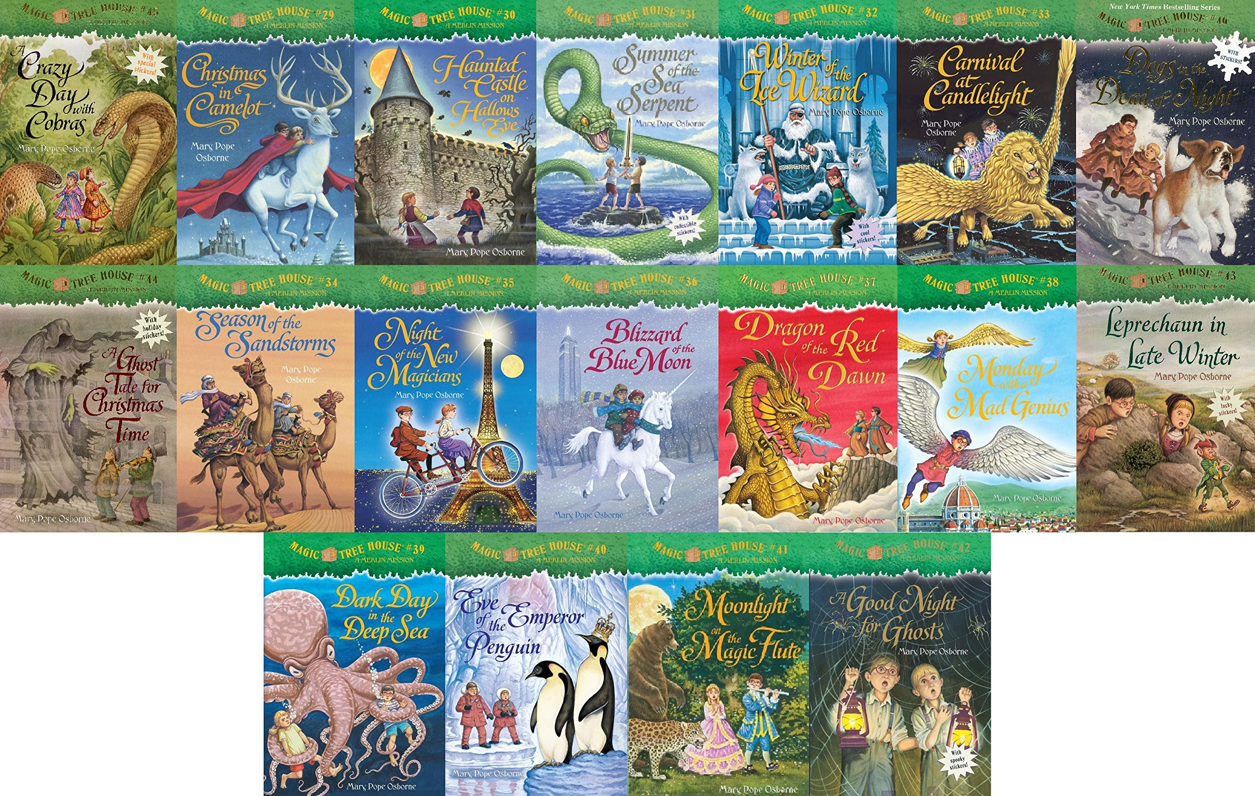 18 Books: Magic Tree House Merlin Mission Collection Books 29  46  Christmas In Camelot, Haunted Castle On Hallow's Eve, Summer Of The Sea  Serpent,