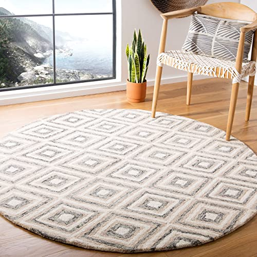Safavieh Micro-Loop Collection MLP906F Handmade Wool Area Rug, 5 x 5 Round, Grey Ivory