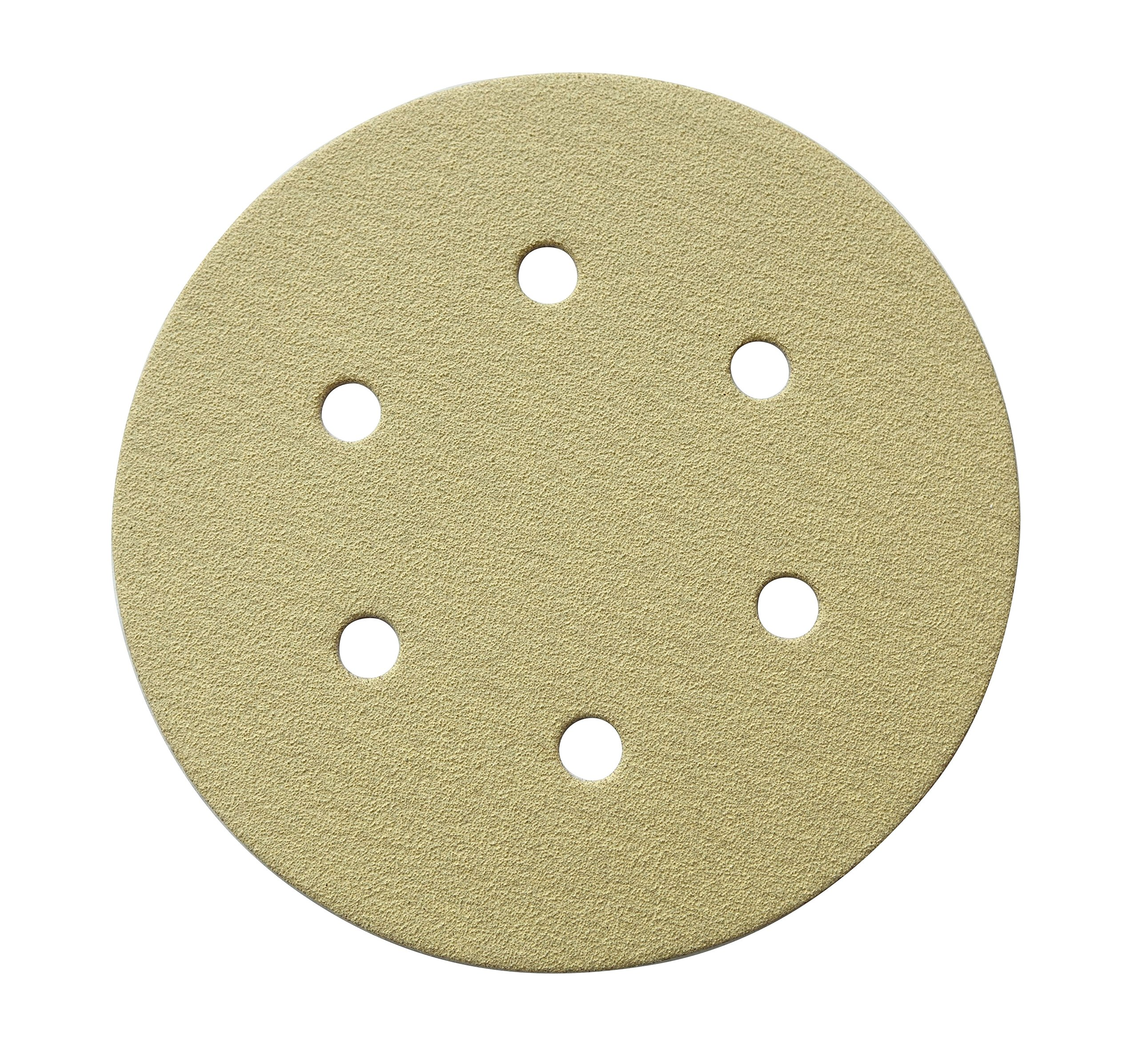 POWERTEC 45215G-50  6-Inch 6 Hole 150 Grit Hook and Loop Sanding Discs, Gold, 50-Pack