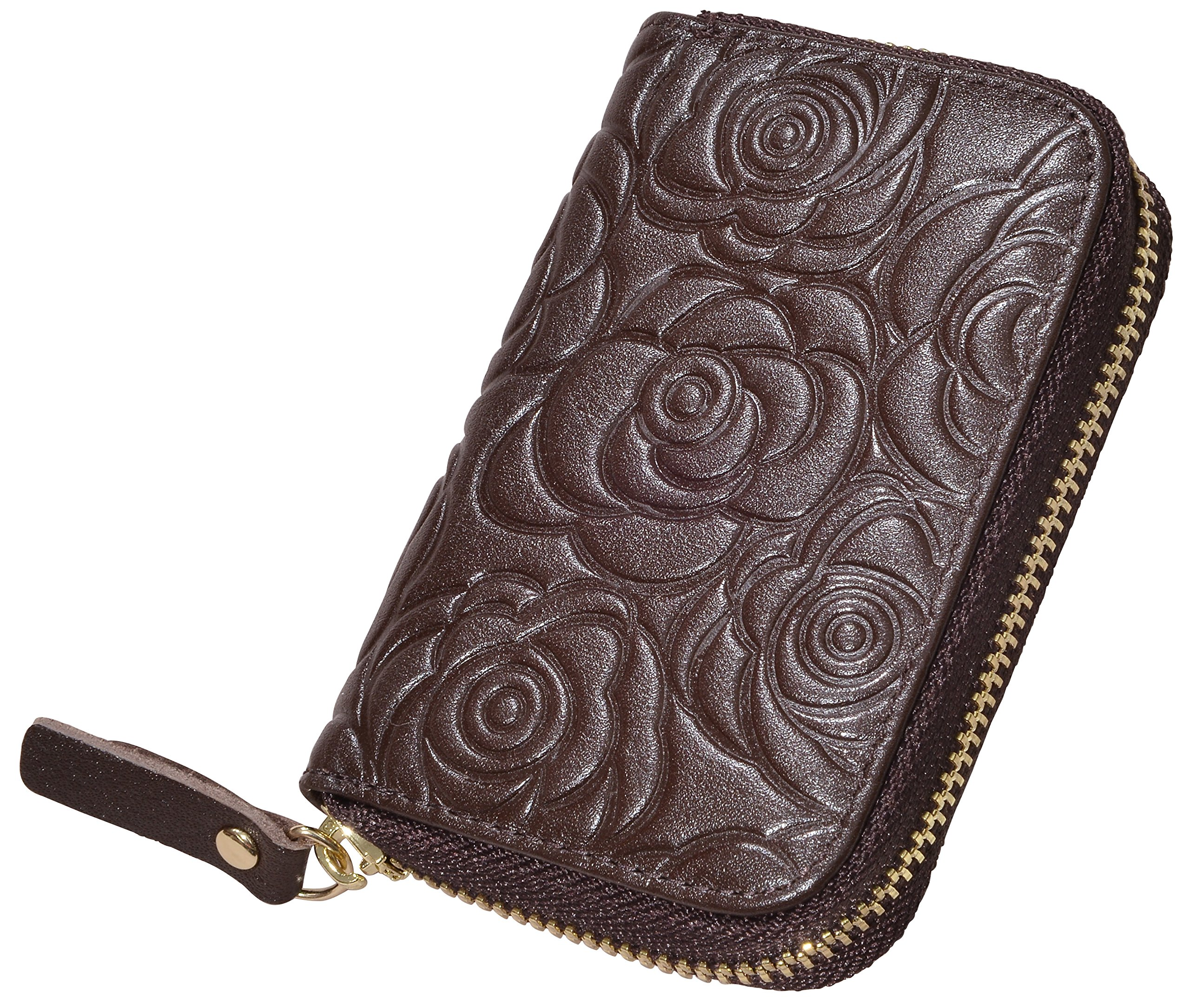 Beurlike Women's Floral Leather Credit Card Holder RFID Security Small Wallet (Coffee) by Beurlike (Image #4)