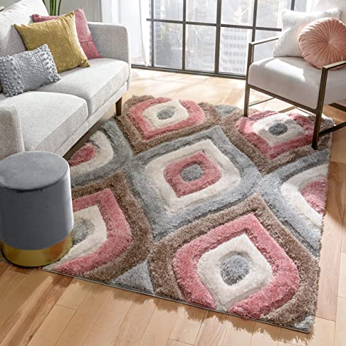 Well Woven Moira Brown Blush Pink Geometric Trellis Thick Soft Plush 3D Textured Shag Area Rug 8×10 7'10″ x 9'10″