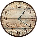 "RUSTIC WOOD CLOCK Large 10.5"" Wall Clock Decorative Round Novelty Clock PRINTED WOOD IMAGE Beach Wood Clock"