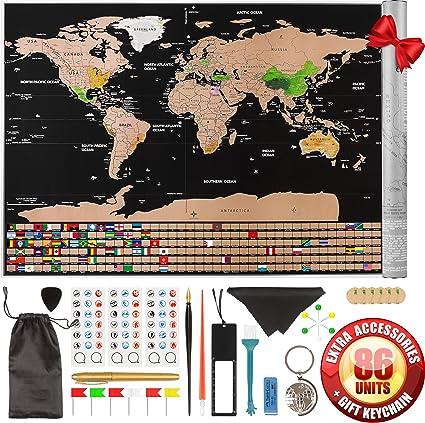 Póster de Scratch Off Mapa del mundo con banderas de Estados Unidos los estados esboza – tus