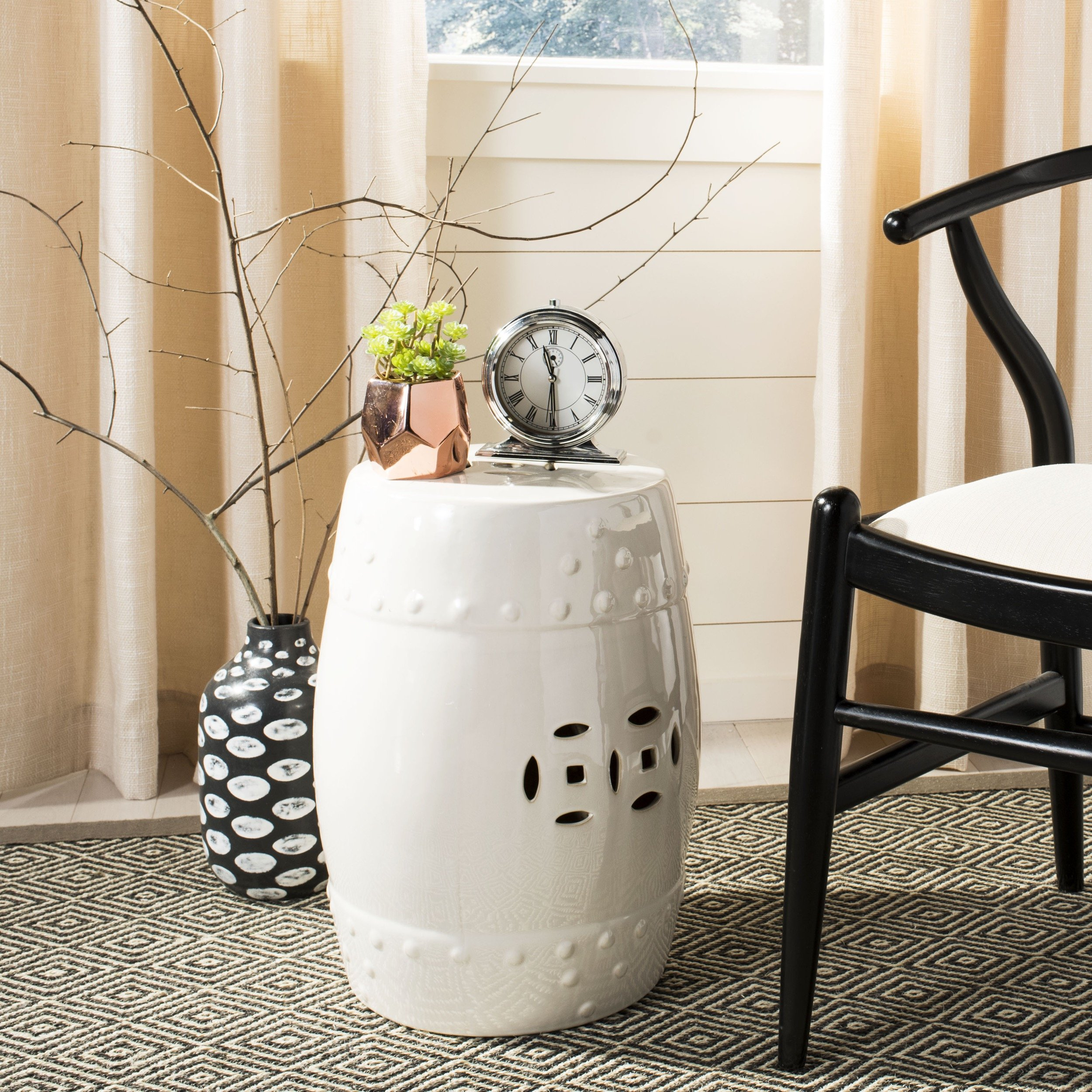 Safavieh Castle Gardens Collection Modern Ming Cream Ceramic Garden Stool