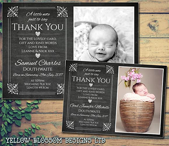 Personalised Thank You New Baby Birth Announcement Cards Newborn Boy or Girl ?