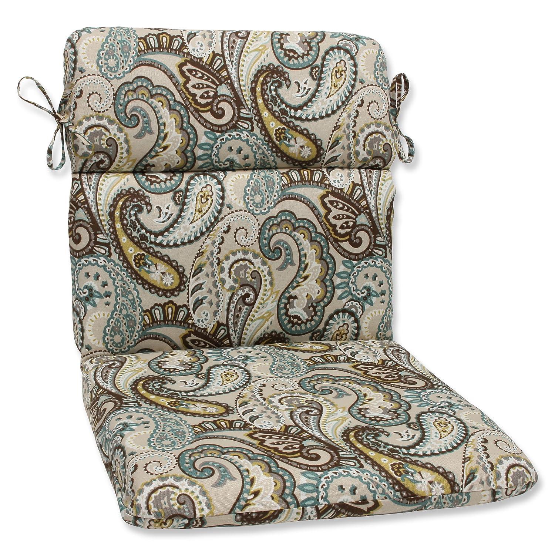 Pillow Perfect Outdoor Tamara Paisley Quartz Rounded Corners Chair Cushion