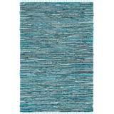 "Safavieh Rag Rug Collection RAR127C Hand Woven Turquoise and Multi Cotton Area Rug (2'6"" x 4')"