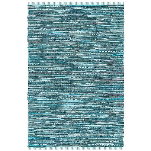 Safavieh Rag Rug Collection RAR127C Hand Woven Turquoise and Multi Cotton Area Rug 6 x 9