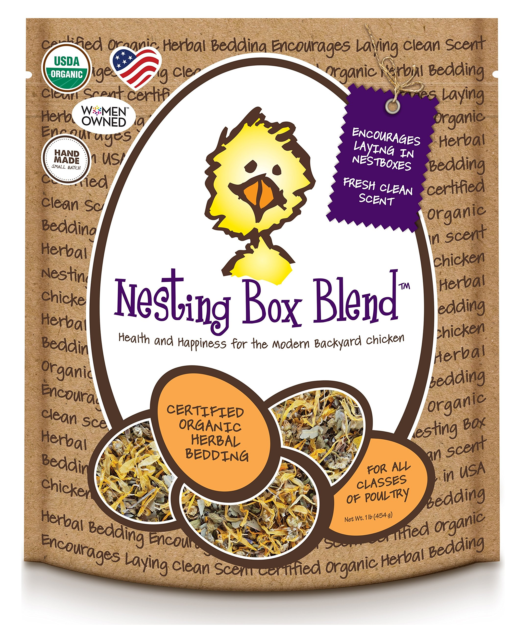 Treats For Chickens Certified Organic Nesting Box Blend, Herbal Bedding, 1Lb Bucket by Treats For Chickens
