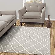 Diagona Designs Contemporary Geometric Moroccan Trellis Design 8 by 10 Area Rug, 94  W X 118  L, Gray / Ivory (JAS2073)
