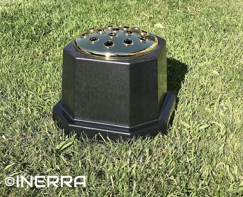 Black with Silver Lid Plain No Text INERRA Memorial Grave Vase Heavy /& Sturdy Pot Container for Graveside Flower Arrangements