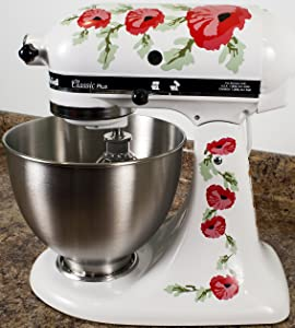 Red Poppy Flowers Watercolor Vinyl Decals for Kitchen Mixers