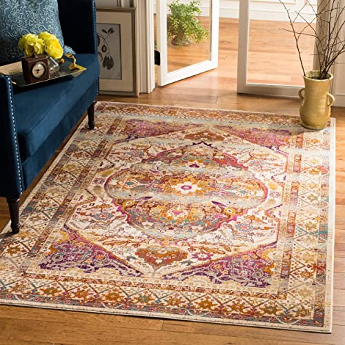 Safavieh Baldwin Collection BDN189A Ivory and Fuchsia Pink Vintage Bohemian Oriental Area Rug 5'1″ x 7'6″