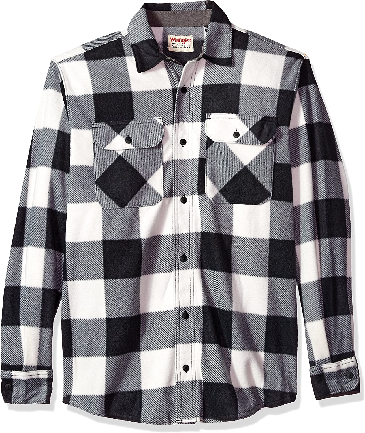Wrangler Authentics Men's Long Sleeve Heavyweight Plaid Fleece Shirt
