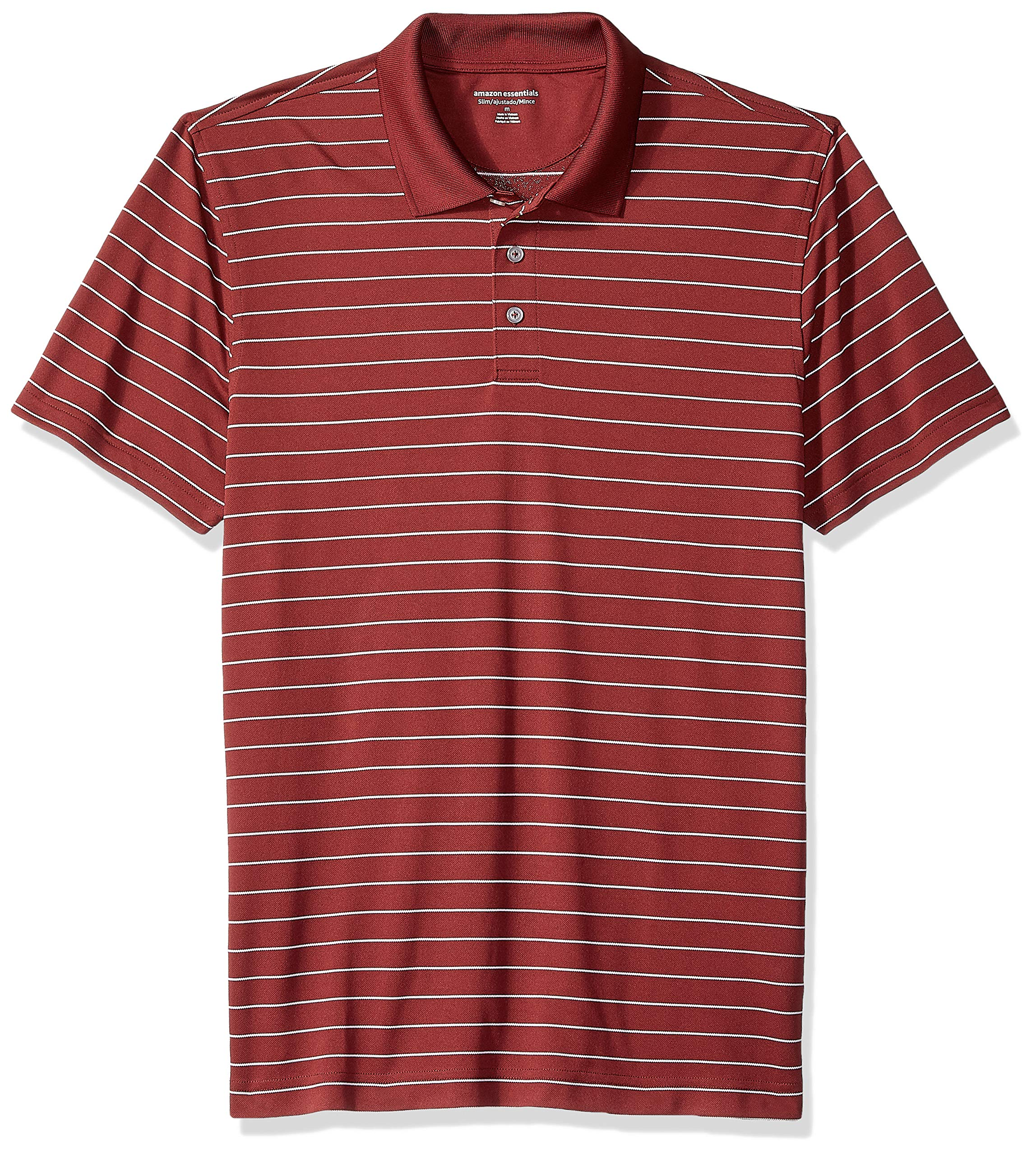Amazon Essentials Men's Slim-Fit Quick-Dry Golf Polo Shirt, Port Stripe, X-Small