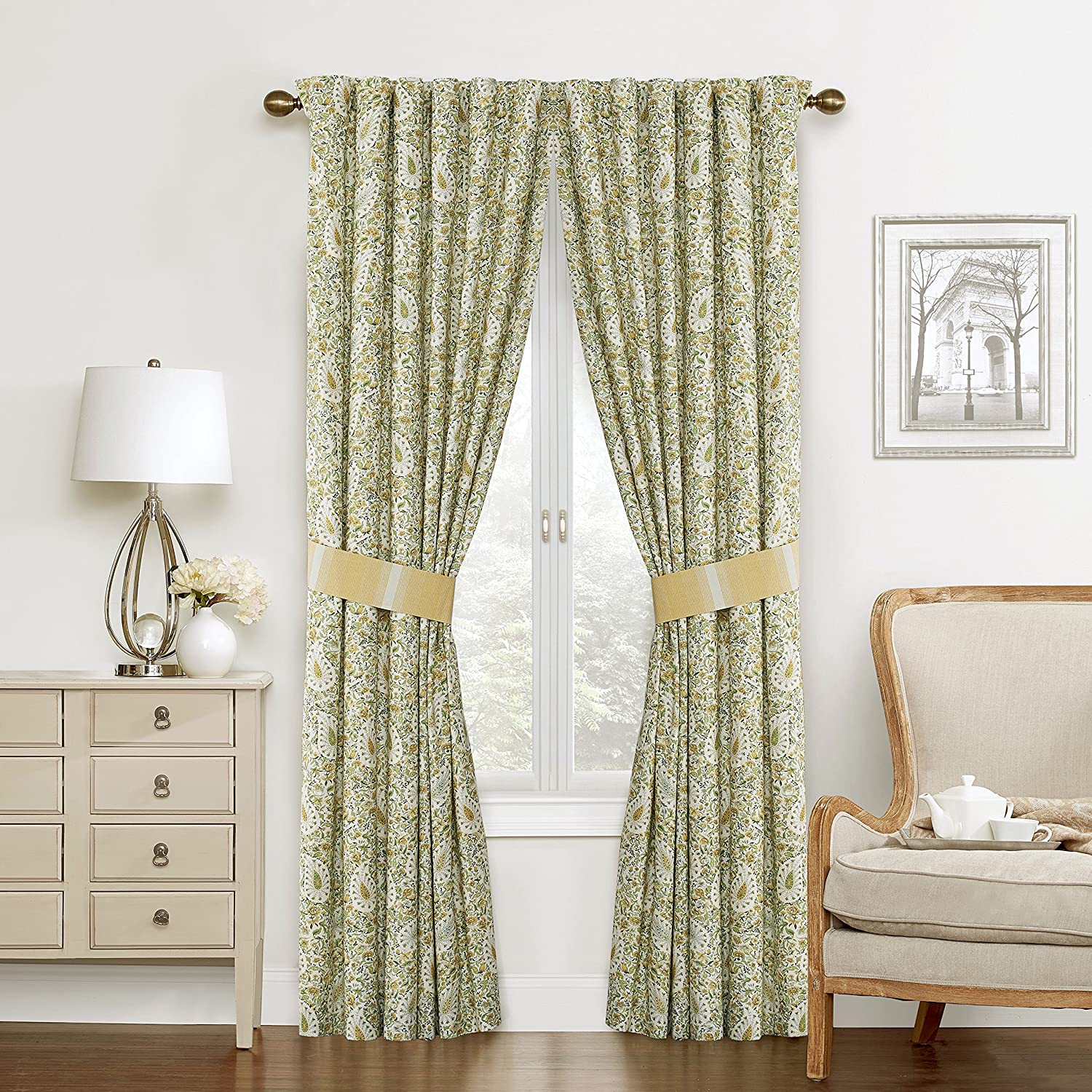 """WAVERLY Curtains for Bedroom - Paisley Verveine 100"""" x 84"""" Decorative Double Panel Rod Pocket Window Treatment Privacy Curtain Pair for Living Room, Spring"""