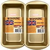 2LB (900g) Loaf Pan, Twin Pack, British Made with Gold GlideX Non Stick by Lets Cook Cookware
