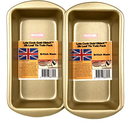 2LB 900g Loaf Pan Twin Pack British Made With Gold GlideX Non