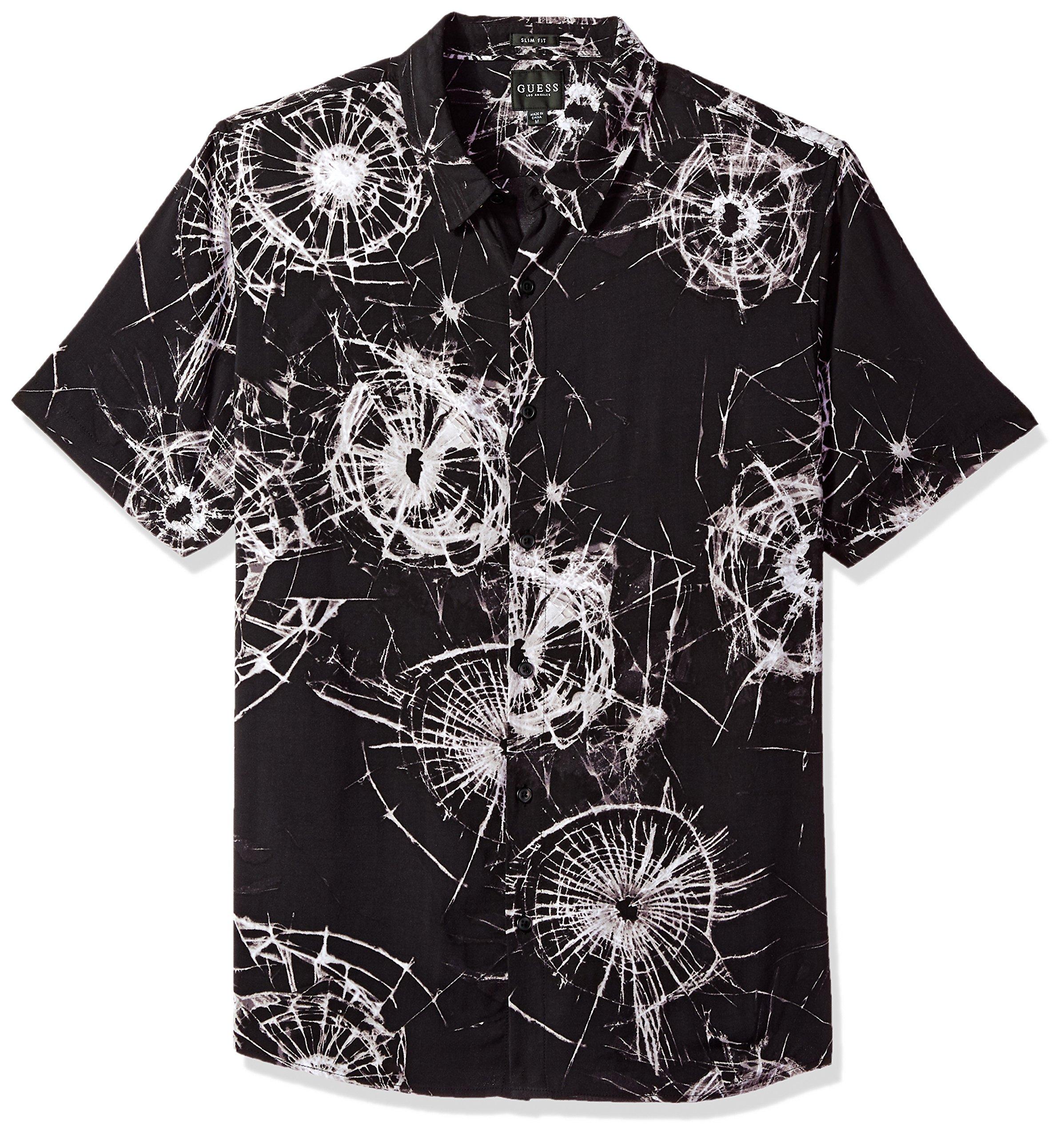 GUESS Men's Short Sleeve Shattered Glass Print Shirt Jet Black, Large