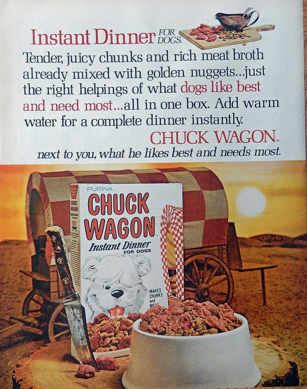 Chuck Wagon Dog Food, 60's Print Ad. full Page Color Illustration (wagon) Original Vintage, Rare 1969 Look Magazine Art