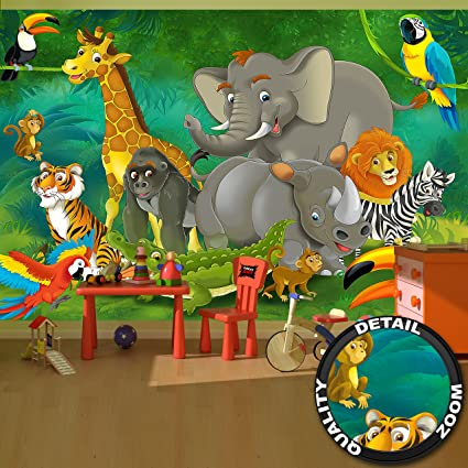 Tapiz De Foto Cuarto De Ninos Selva Animales Mural Decoracion Jungla