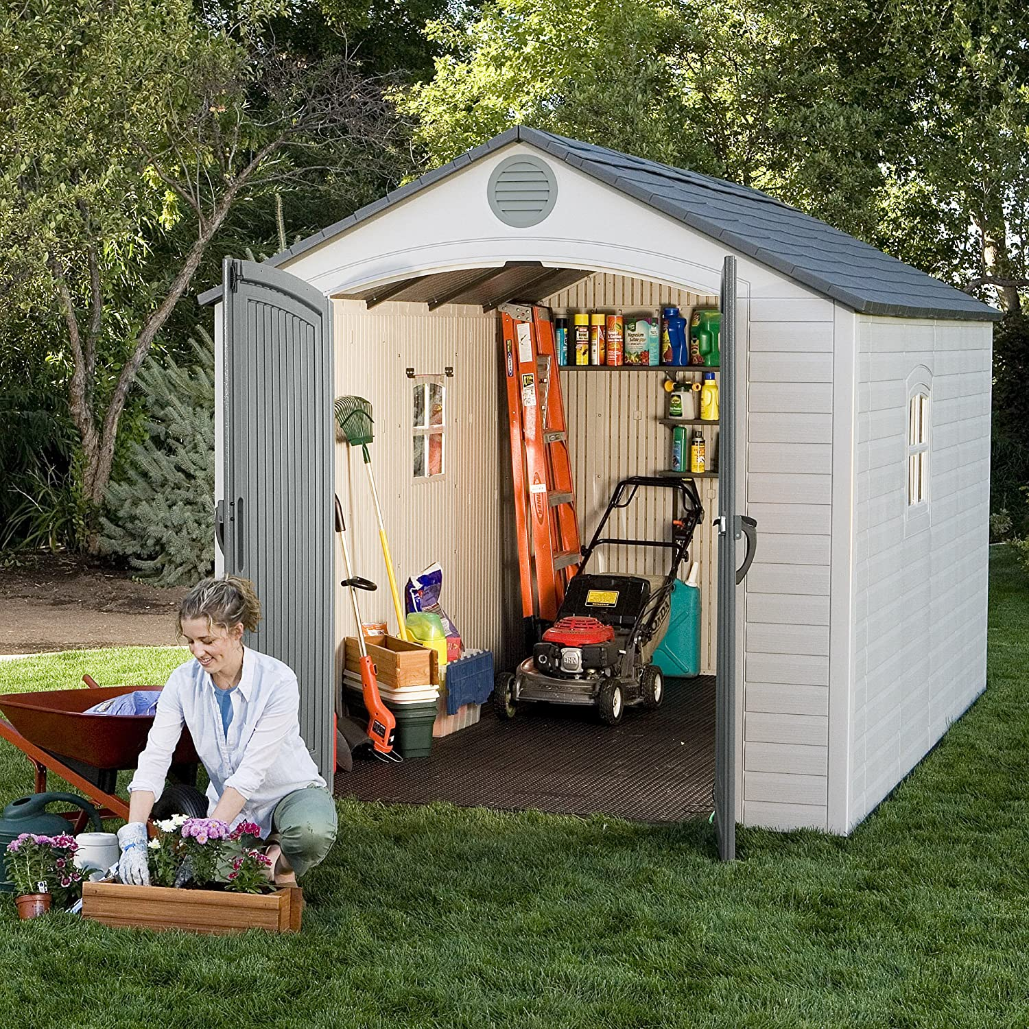 amazon com lifetime 6402 outdoor storage shed 8 by 12 5 feet 2