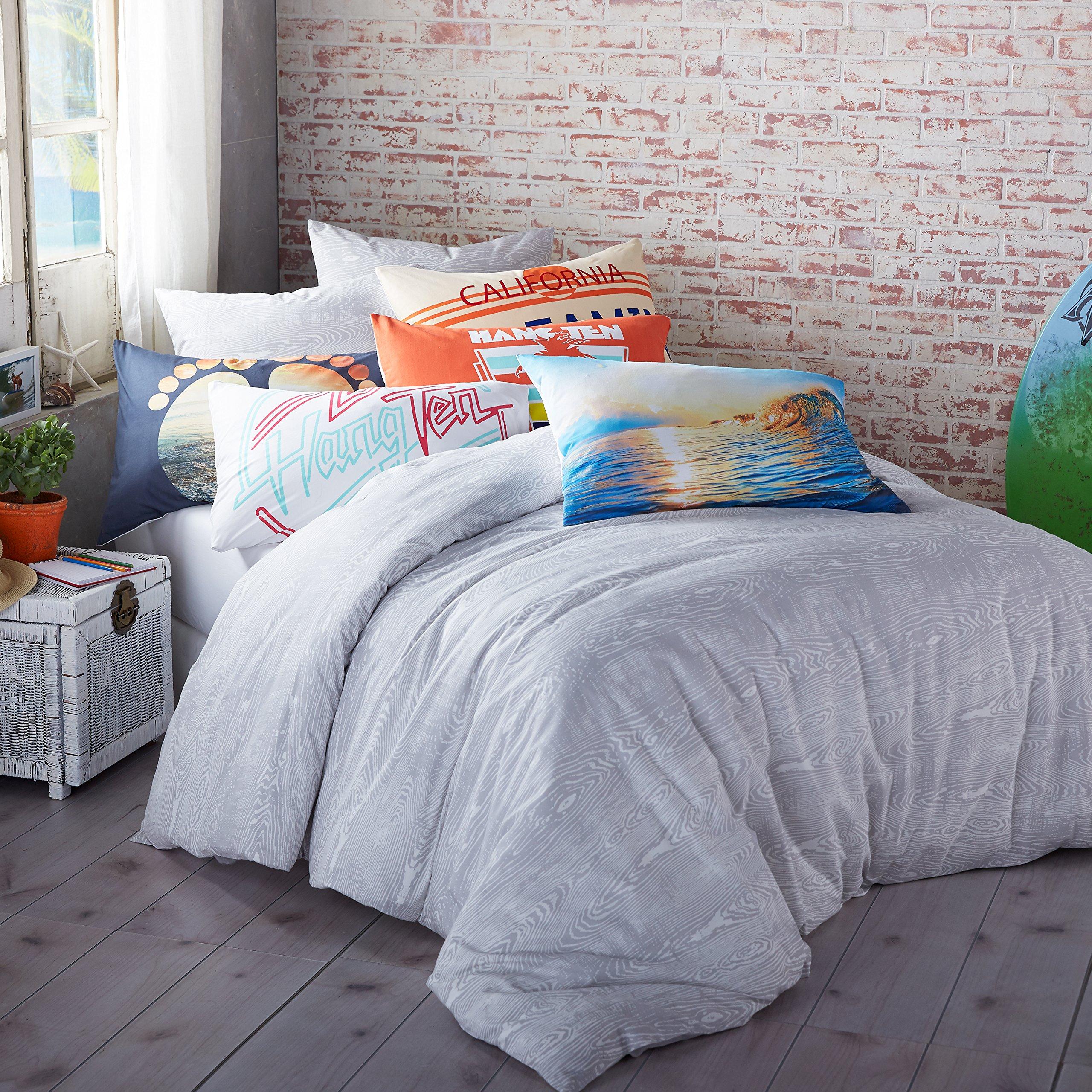 Hang Ten Woodgrain Reversible Cotton Duvet Cover Set, Grey, Twin