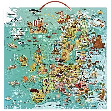 Carte Europe Janod.Vilac 2727 Carte D Europe Magnetique En Bois Amazon Fr Jeux Et