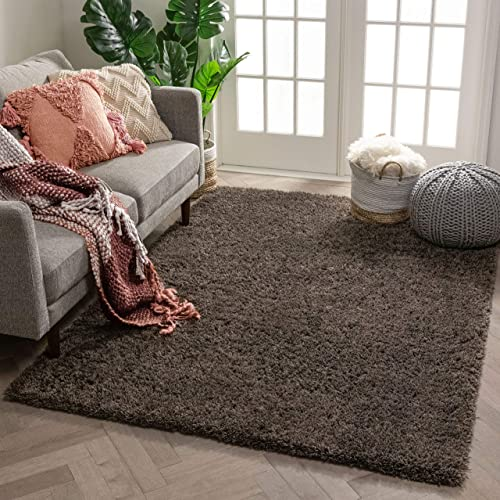 Well Woven Super Soft Faux Fur Shag 8×11 7'10″ x 9'10″ Area Rug Carpet Peppercorn Grey Plush Microfiber Area Rug Thick Plush Pile
