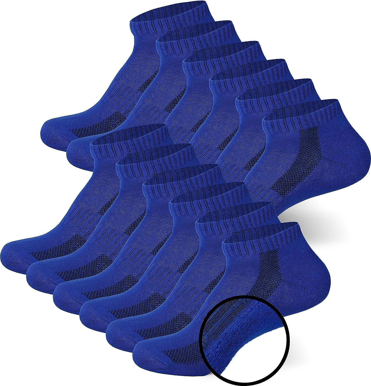 MC.TAM/® Unisex Calze Sportivi Uomo Donna Calzini Quarti 6 Paia 80/% Cotone Suola in Spugna Blu 43-46 6x HF
