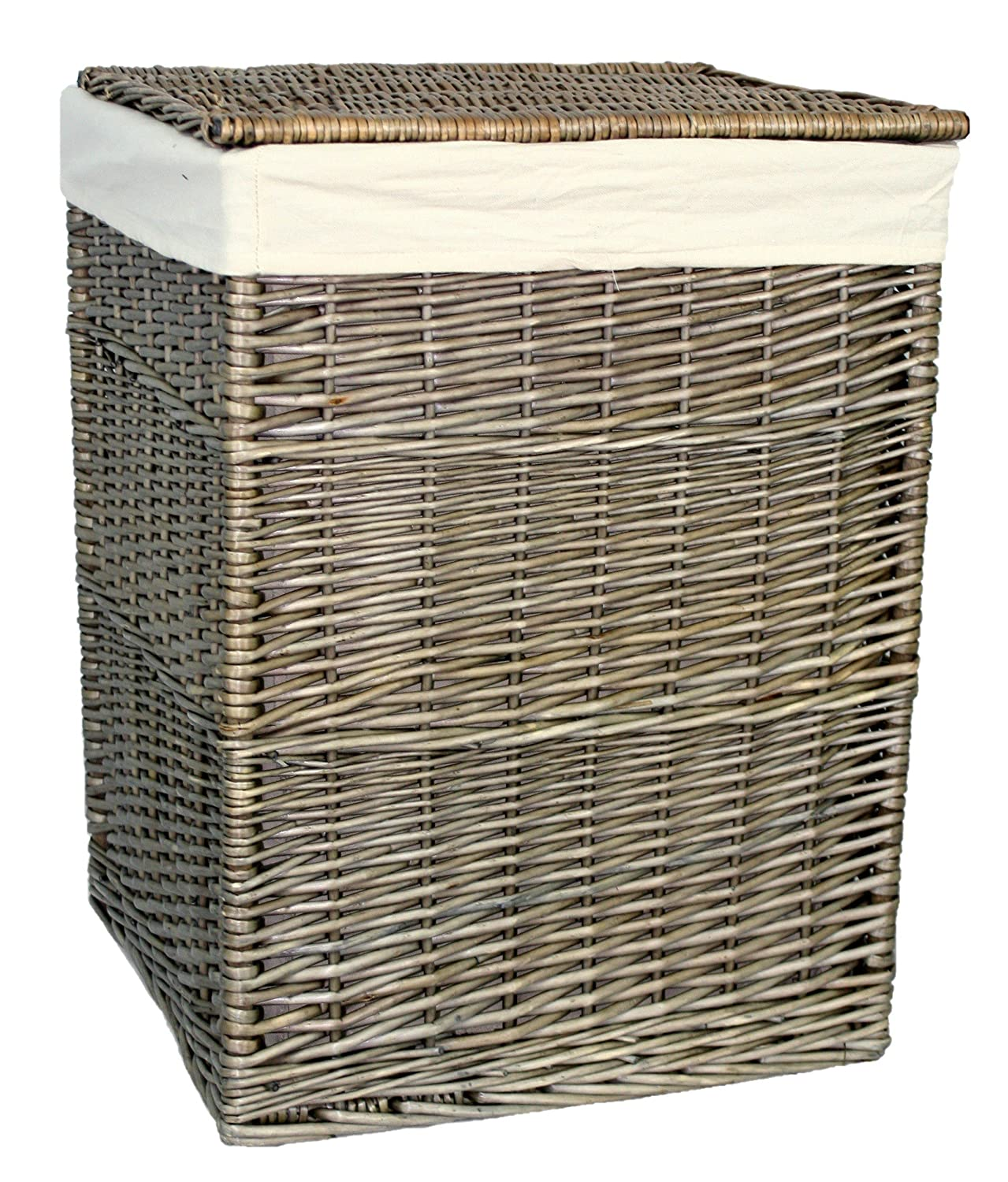 Red Hamper Antique Wash Square Laundry Basket, Wicker, Brown, 61 x 46 x 46 cm H022 2
