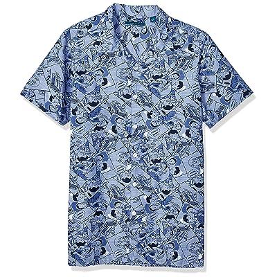 Perry Ellis Men's Big and Tall Comic Print Chambray Shirt: Clothing