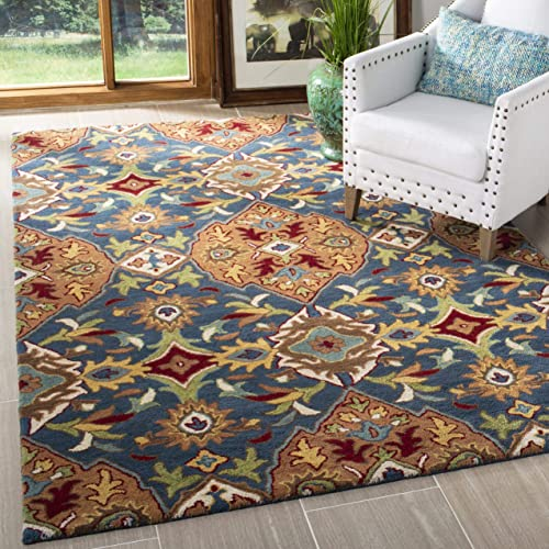 Safavieh Heritage Collection HG653A Handcrafted Traditional Camel and Blue Premium Wool Area Rug 5' x 8'