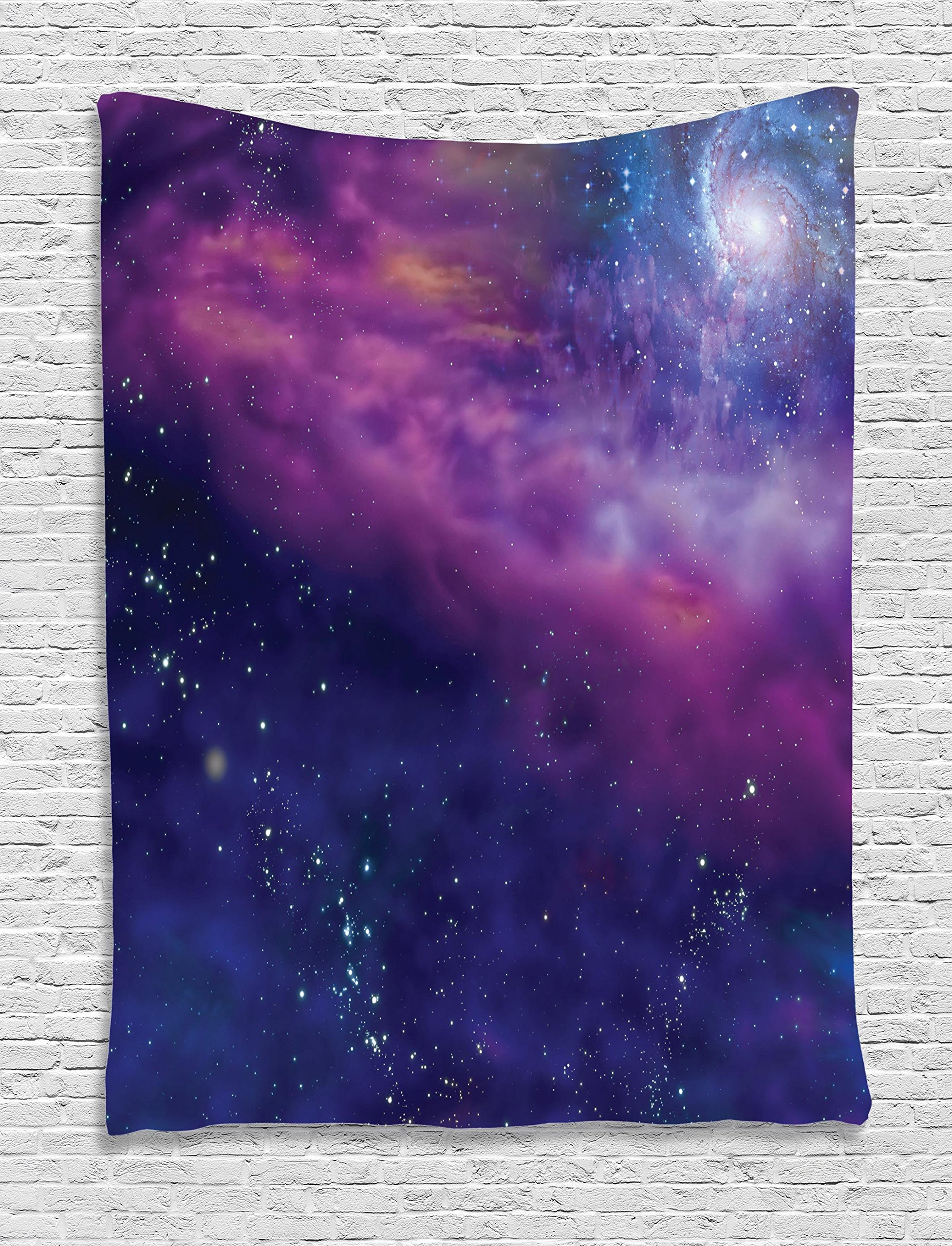 Ambesonne Outer Space Decor Tapestry, Spiritual Dim Star Clusters Milky Circle Back with Solar System Elements, Wall Hanging for Bedroom Living Room Dorm, 40 W x 60 L inches, Purple Blue