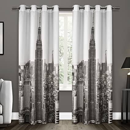 Exclusive Home Curtains Manhattan Grommet Top Window Curtain Panel Pair Black White 54x96