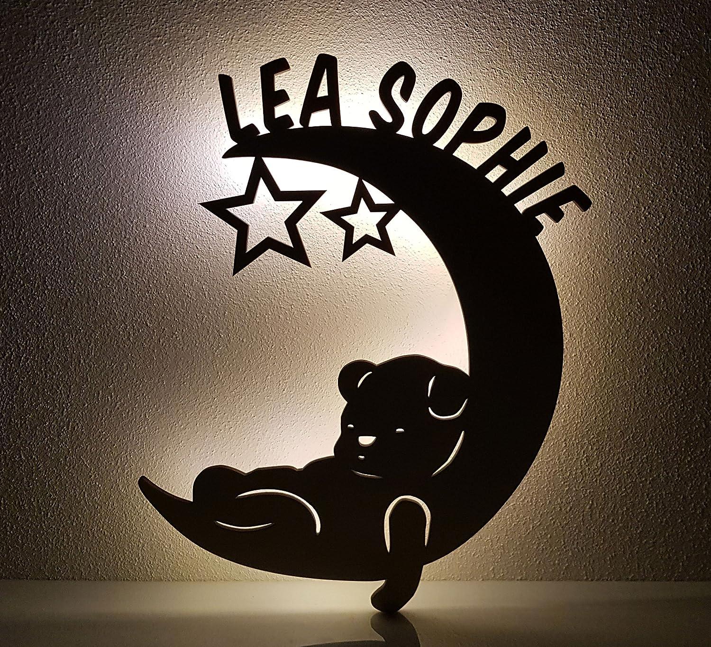 Optional auch mit Lackierung und // oder Zugschalter Schlummerlicht // Nachtlicht personalisiert mit Namen Mond mit B/är