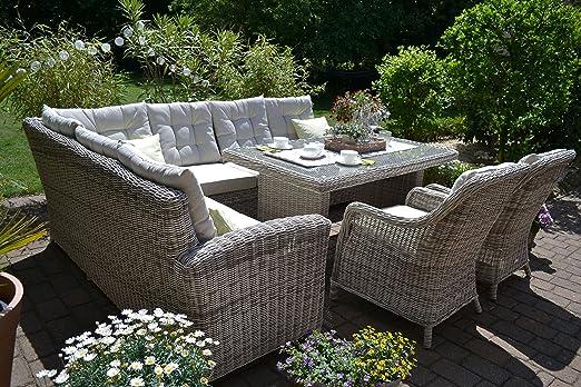 Bomey Ratán sintético Muebles de Jardín Set I (4 piezas) Manhattan I Jardín sofá + mesa