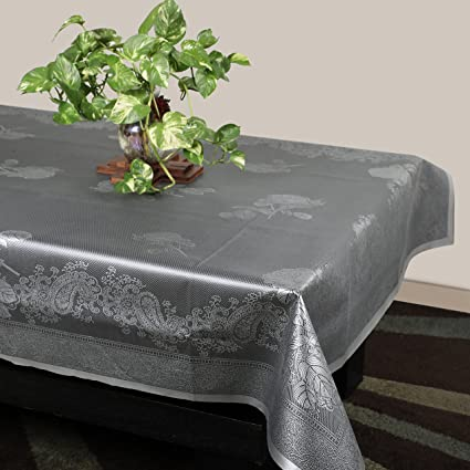 Azalea Rexeena Centre Table PVC Embossed Table Cover, Grey, Pack of 1