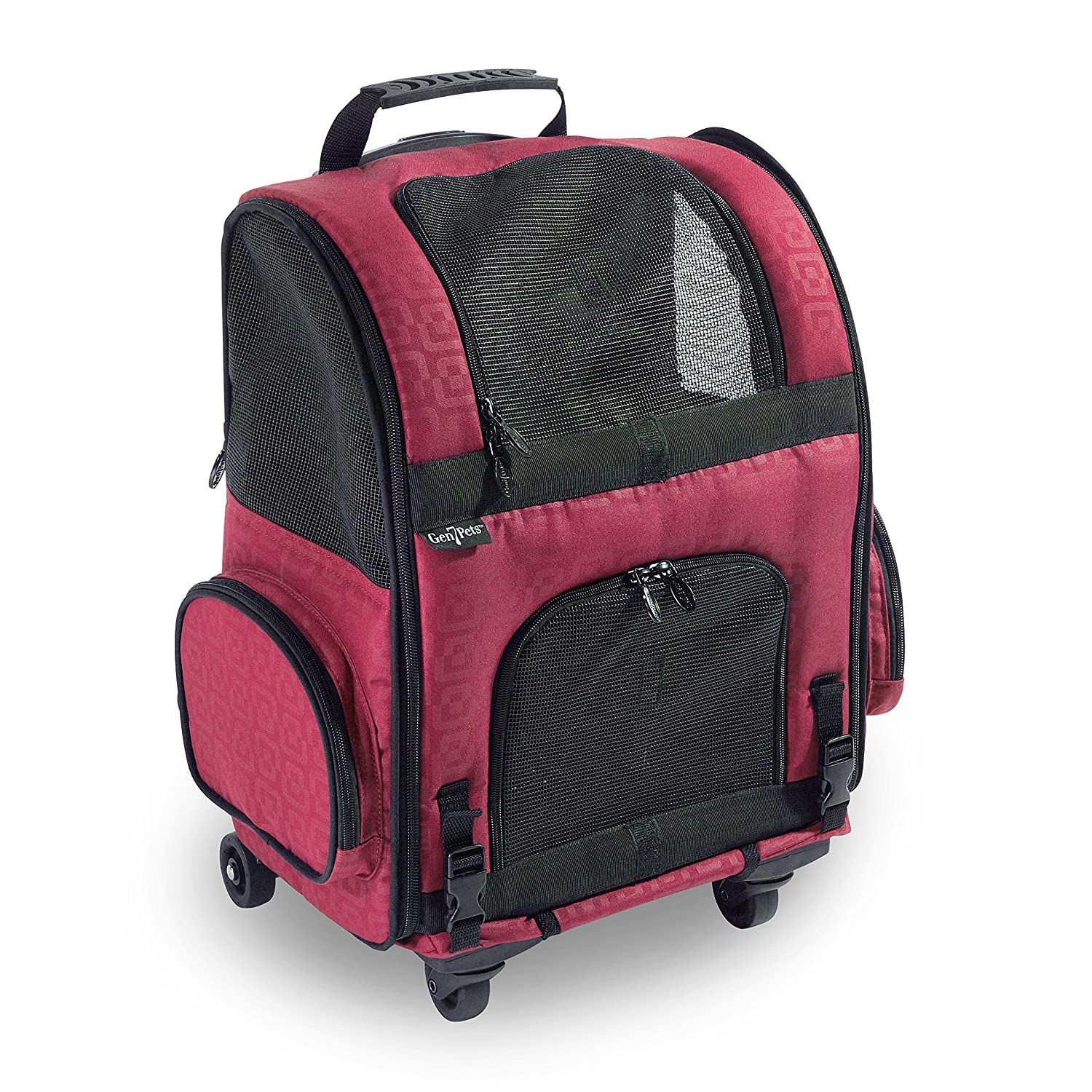 RED GEOMETRIC Medium RED GEOMETRIC Medium Gen7 Compact Roller Pet Carrier for Dogs and Cats Compact and Lightweight Congreens to a Backpack