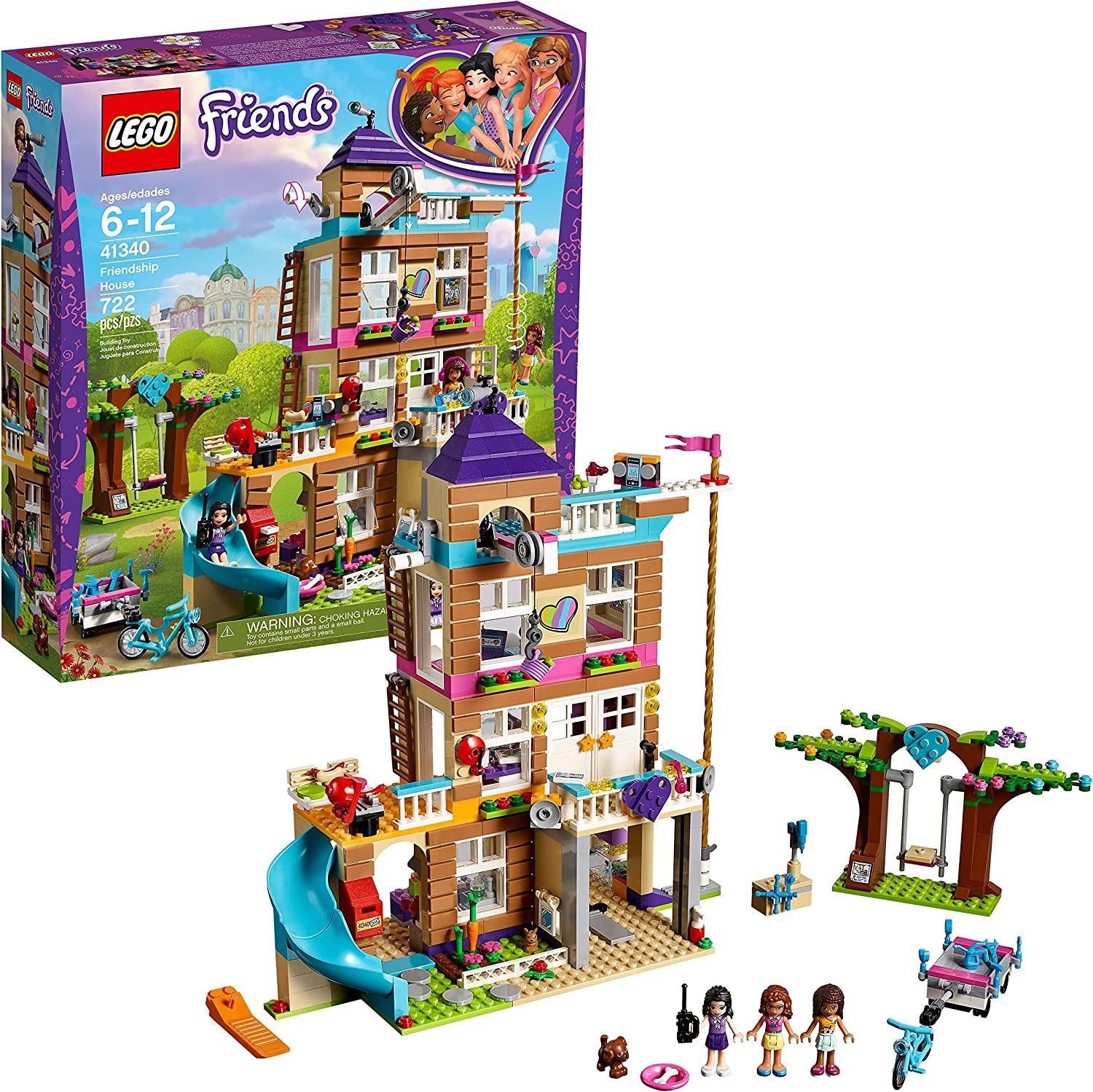 LEGO Friends Friendship House 41340 Kids Building Set with Mini-Doll Figures  Popular Toy and Gift for Girls  722 Piece