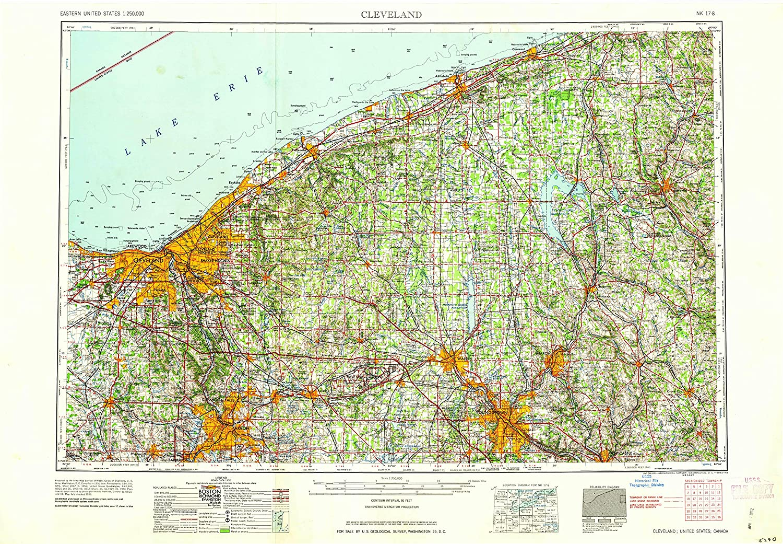Amazoncom Yellowmaps Cleveland Oh Topo Map 1250000 Scale 1 X 2 - Cleveland-on-us-map