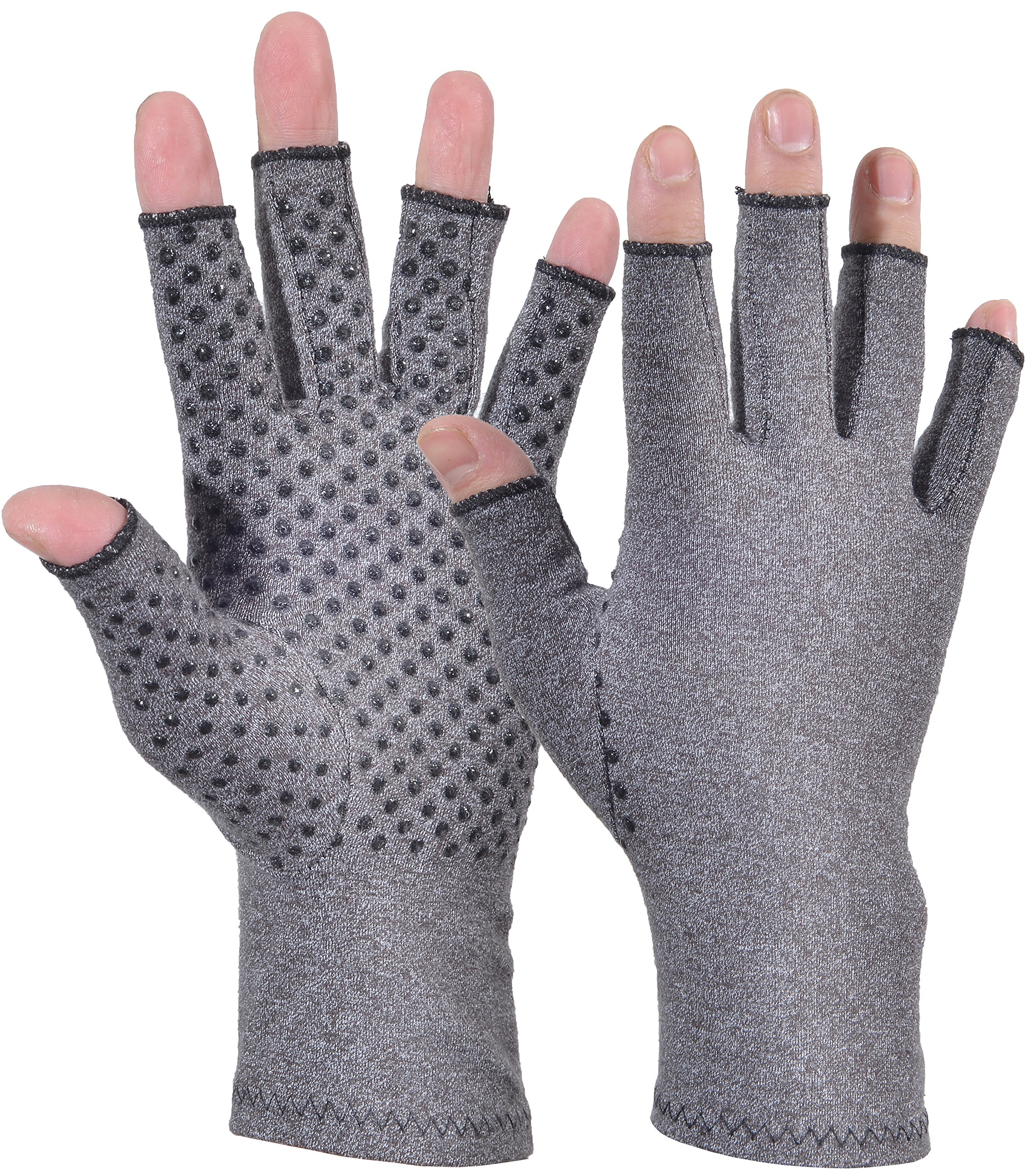 Woogwin Arthritis Compression Gloves - Open Gloves for Relief of Rheumatoid & Osteoarthritis Joint Pain, Fingerlss Hand Non-Slip Gloves for Typing Computer and Daily Work for Men & Women (Gray, L)